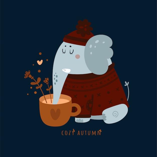 Przytulna jesień. słodki słoń zwierzątko z filiżanką kawy, herbaty ziołowe