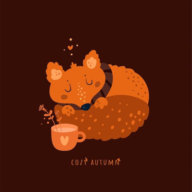 Przytulna jesień. słodkie zwierzę lisa z filiżanką herbaty ziołowej