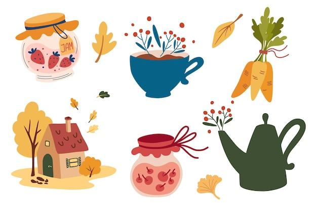 Przytulna jesień. zestaw elementów. mały dom, czajnik, filiżanka, dżem, liście i jagody. domowy komfort jesienny i żniwa. wektor ręcznie rysować ozdobny pakiet.