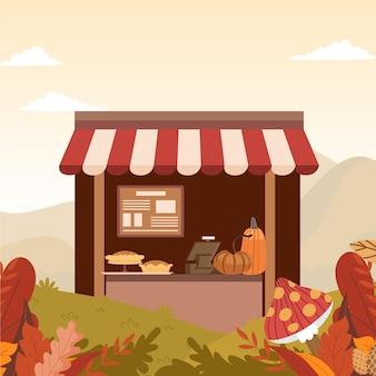 Przytulna jesienna kawiarnia ilustracja