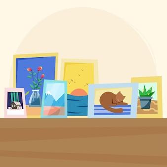 Przytulna półka z ramkami na zdjęcia
