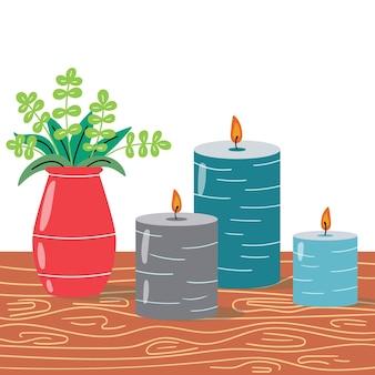 Przytulna przestrzeń z ozdobnymi świecami i wazonem z roślinami. nowoczesne wnętrze. edytowalna ilustracja wektorowa