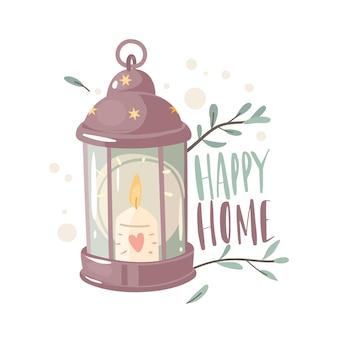 Przytulna świecąca latarnia. płonąca świeca w lampie, piękno światła z zielonymi gałązkami i liśćmi dookoła. pojęcie