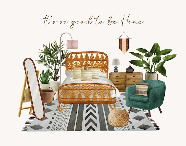 Przytulna sypialnia akwarela ręcznie rysowane tła szablonu