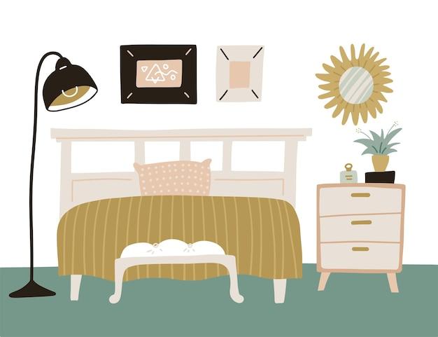 Przytulna sypialnia z domowymi roślinami w stylu skandynawskim. białe drewniane łóżko z komodą, lustrem i lampą flor. płaskie ręcznie rysowane ilustracja kreskówka.