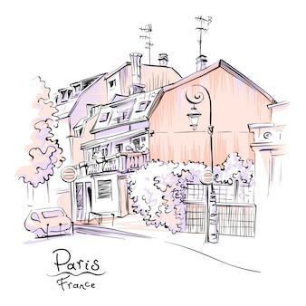 Przytulna ulica paryża, francja