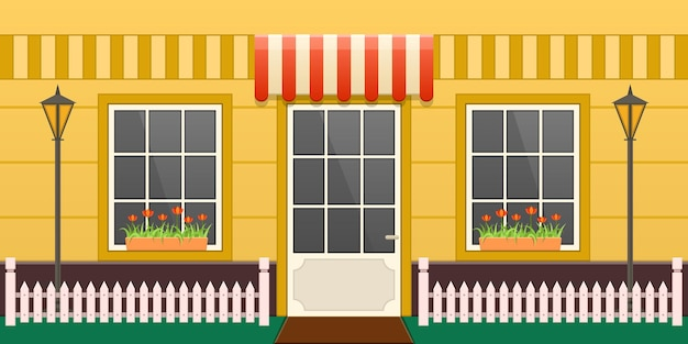 Przytulna wieś żółty dom elewacji ulicy. przytulny zewnętrzny budynek wsi z wejściem, oknami, trawnikiem i drewnianym ogrodzeniem. projekt mieszkania prywatnej nieruchomości ozdobiony kwiatami kreskówka wektor
