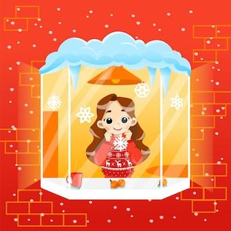 Przytulna zimowa scena ilustracja w płaski kreskówka z gradientami. wektor skład charakter uczennica stojący na parapecie patrząc na zewnątrz. szczęśliwy uśmiechnięte dziecko sobie sweter w domu.