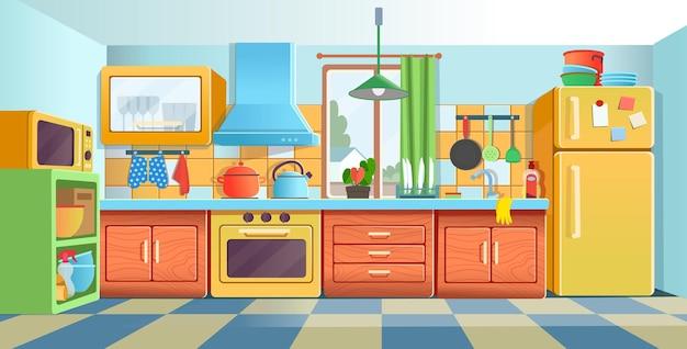 Przytulne kolorowe wnętrze kuchni z lodówką, kuchenką, naczyniami w szafie.