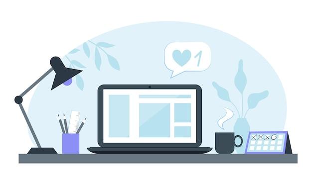Przytulne miejsce pracy pracownika biurowego z komputerem i innymi artykułami biurowymi