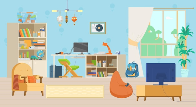 Przytulne wnętrze pokoju dziecięcego z zabawkami i dekoracjami
