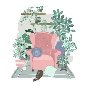 Przytulne wnętrze pokoju scandi z dużą ilością roślin w doniczkach, koncepcja miejskiej dżungli, ręcznie rysowane płaska ilustracja
