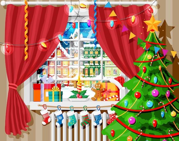 Przytulne wnętrze pokoju z oknem. szczęśliwego nowego roku ozdoba. wesołych świąt bożego narodzenia. obchody nowego roku i bożego narodzenia. zimowy krajobraz, drzewo, śnieg, miasto. ilustracja kreskówka płaski wektor.