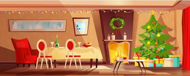 Przytulne wnętrze salonu udekorowane na święta bożego narodzenia.