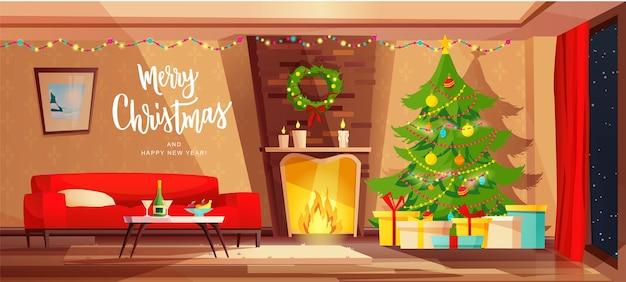 Przytulne wnętrze salonu z kominkiem udekorowane na święta bożego narodzenia.