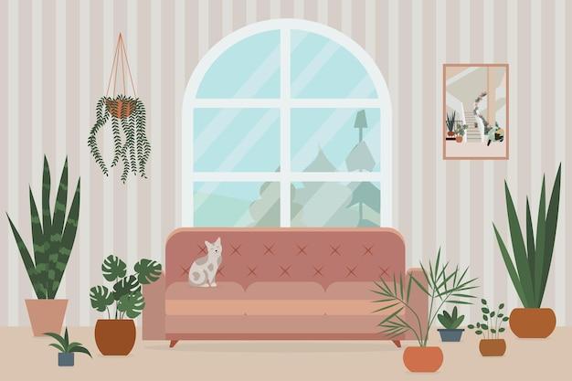 Przytulne wnętrze salonu z sofą duże okno kot i rośliny rosnące w doniczkach