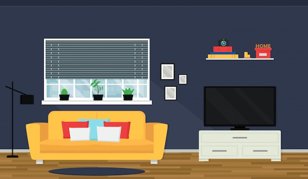 Przytulne wnętrze salonu z sofą i telewizorem. okno z widokiem na panoramę miasta. nowoczesny apartament.