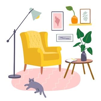 Przytulne wnętrze ze stylowym żółtym krzesłem, stolikiem kawowym oraz domowymi dekoracjami i roślinami, kot na dywanie. ręcznie rysowane nowoczesne meble do salonu. kolorowa ilustracja.