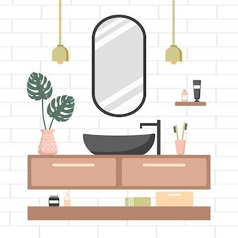 Przytulny biały pokój z owalnym lustrem i czarną umywalką