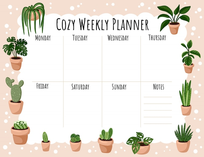 Przytulny cotygodniowy terminarz i lista rzeczy do zrobienia z ornamentem soczystych roślin doniczkowych. ładny szablon lagom dla agendy, planistów