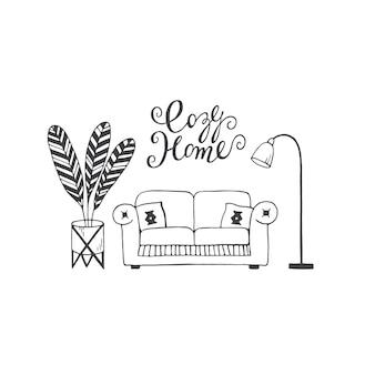 Przytulny dom napis handdrawn wektor doodle ilustracja sofa poduszki roślina dom i lampa