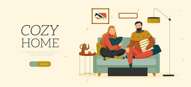 Przytulny dom poziomy płaski baner z mężczyzną i kobietą w swetrach siedzących na kanapie z ilustracją poduszek