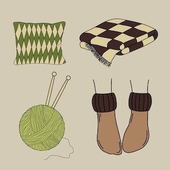 Przytulny dom zestaw elementów wektorowych w stylu doodles