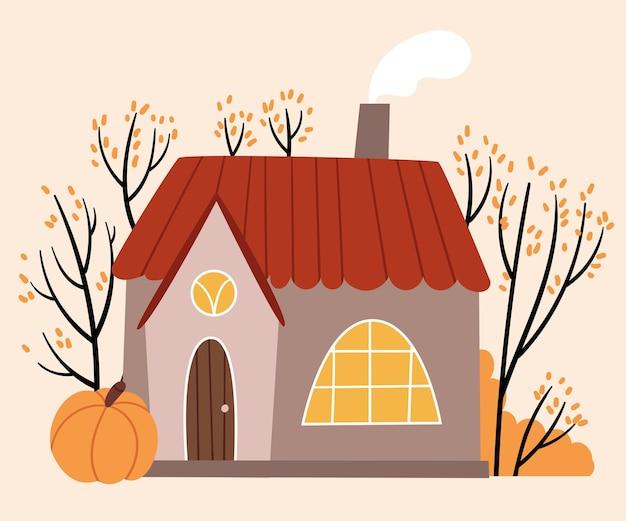 Przytulny domek z okrągłym oknem i czerwonym dachem stoi w jesiennym lesie w skandynawskim stylu