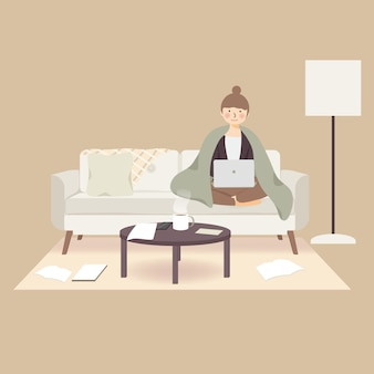 Przytulny dzień praca w domu ćwiczenie zostań w domu podczas wybuchu pandemicznego wirusa koronawirusa covid-19, aby zapobiec rozprzestrzenianiu się infekcji