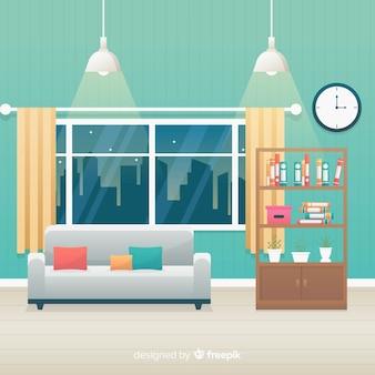 Przytulny i nowoczesny salon o płaskiej konstrukcji
