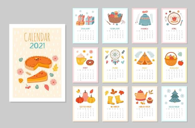Przytulny kalendarz ścienny 2021. kalendarze miesięczne, stylizacja domowego harmonogramu hygge. planer płaski sezon z szablonu wektor kawy rośliny ciepłe ubrania. ilustracja kalendarza 2021, miesięczna grafika organizatora