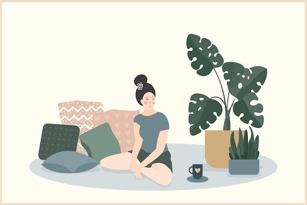 Przytulny motyw domu ręcznie robiona ilustracja.
