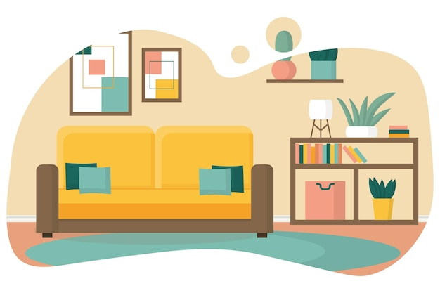 Przytulny projekt salonu salon z regałem i żółtą sofą