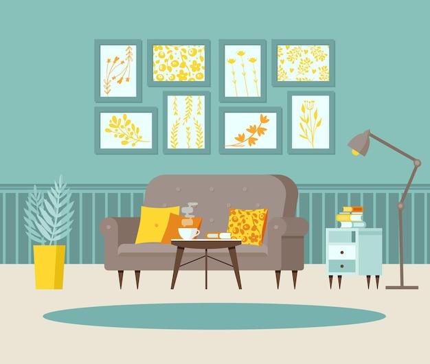 Przytulny salon z kanapą stolik nocny z książkami plakaty na ścianie wnętrze domu