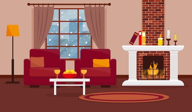 Przytulny salon z kominkiem, meblami, dywanem i oknem ze śnieżnym krajobrazem.