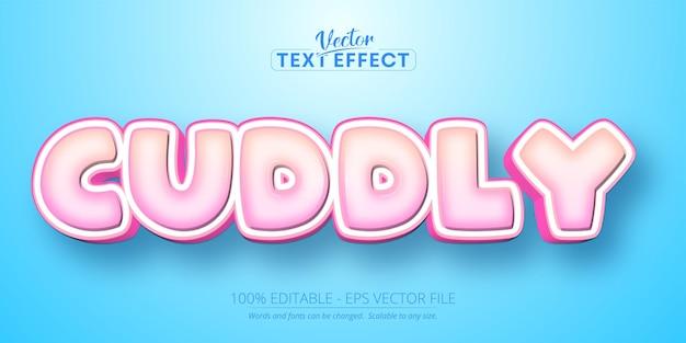 Przytulny tekst, edytowalny efekt tekstowy w stylu kreskówki