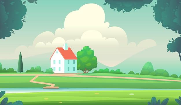 Przytulny wiejski dom nad brzegiem rzeki na tle górzystego terenu
