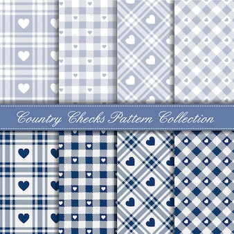 Przytulny wiejski wzór w kratkę serce w niebiesko-lodową kolekcję