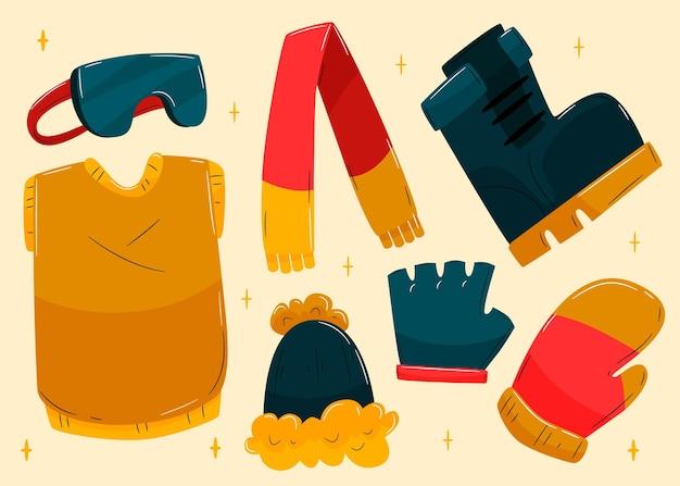 Przytulny zestaw zimowych ubrań i niezbędnych akcesoriów