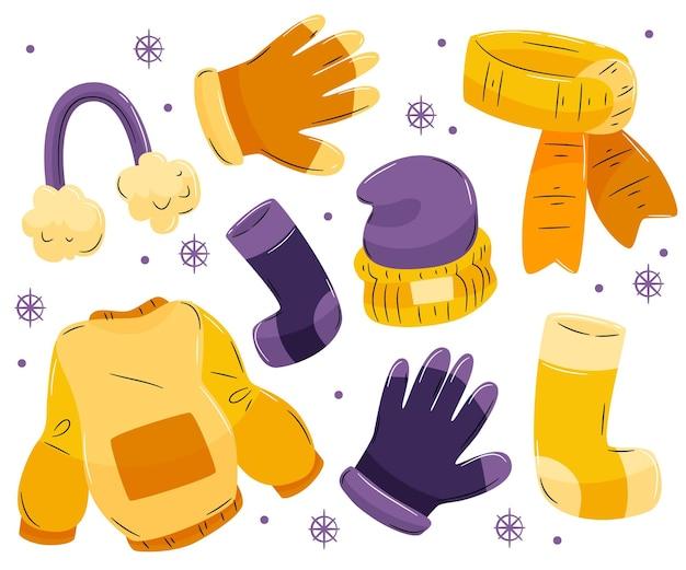 Przytulny zestaw zimowych ubrań i niezbędnych rzeczy