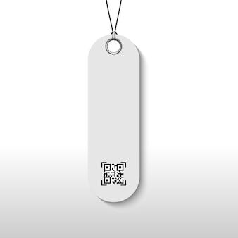 Przywieszka z ceną z kodem qr dla produktu w opakowaniu.