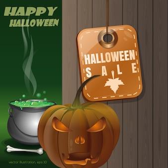 Przywieszka z ceną z napisem - halloweenowa wyprzedaż. jack o latarnia na tle drewnianego ogrodzenia i magicznego kotła. ilustracja wektorowa