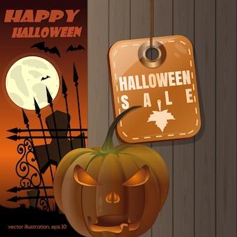 Przywieszka z ceną z napisem - halloweenowa wyprzedaż. jack o latarnia na tle drewnianego ogrodzenia. księżyc w pełni nad cmentarzem. ilustracja wektorowa