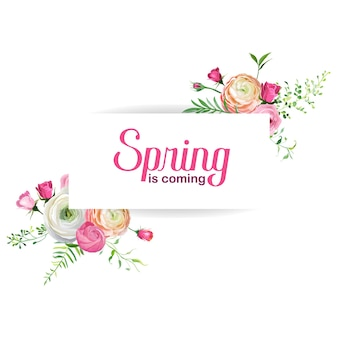 Przywitaj wiosnę kwiatowy karty do dekoracji świątecznych. zaproszenie na ślub, pozdrowienie szablon z kwitnących różowe kwiaty. ilustracja wektorowa