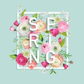 Przywitaj wiosnę kwiatowy wzór z kwitnących różowe kwiaty. botaniczny wiosna tło do dekoracji, plakat, baner. ilustracja wektorowa