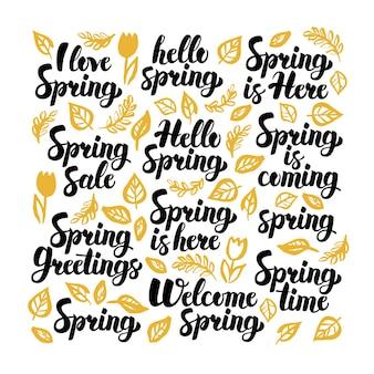 Przywitaj wiosnę odręczny napis. ilustracja wektorowa kaligrafii przyrody na białym.