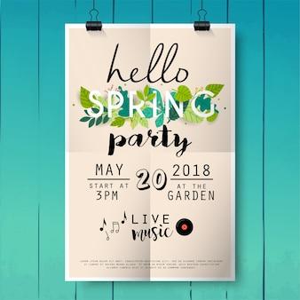Przywitaj wiosnę party plakat napis na tle tekstury drewna.