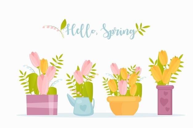 Przywitaj wiosnę płaski szablon karty z pozdrowieniami. kwiaty ogrodowe tulipany gałązki i gałąź roślin