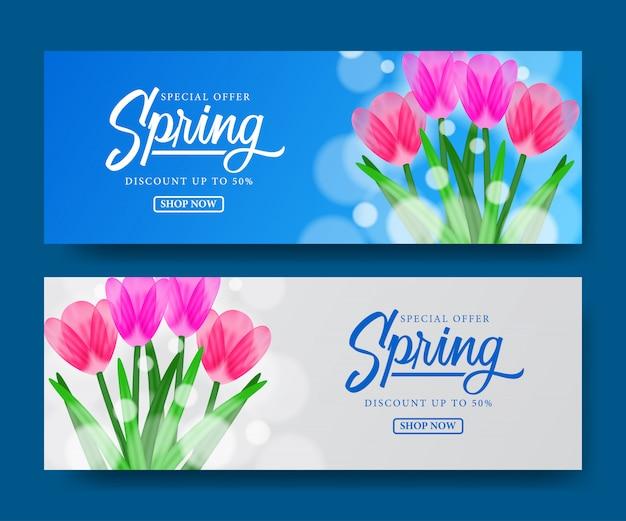 Przywitaj wiosnę sprzedaż kupon transparent tulipany kwiat