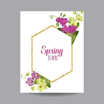 Przywitaj wiosnę tropic design. tropikalne kwiaty orchidei tło ze złotą ramą plakat, sprzedaż transparent, afisz, ulotki. kwiatowa kompozycja rocznika. ilustracja wektorowa